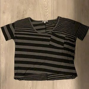 Semi-cropped striped black and grey shirt